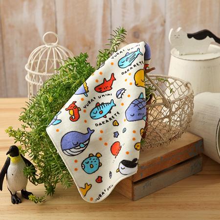 【taoru】魚兒魚兒水中游 - 日本毛巾 22x22 cm (手巾) - 一起和快樂的魚兒們徜徉在海底世界吧!
