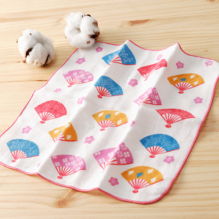 【taoru】和心傳|折扇 - 日本毛巾 25x25 cm(仕女手巾、紗布巾)- 日本二重織極上工藝+傳統和紋印染,保證柔軟喲~