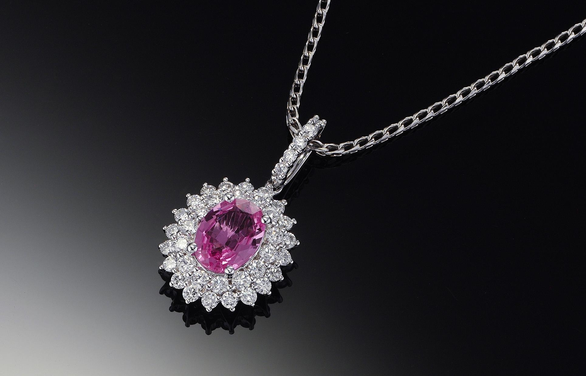 粉紅藍寶石鑽石項鍊18K白金 -附鑑定書