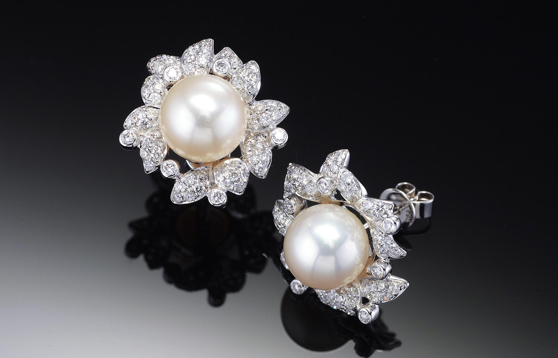 珍珠鑽石耳環(淡水珠)-18K金(附鑑定書)