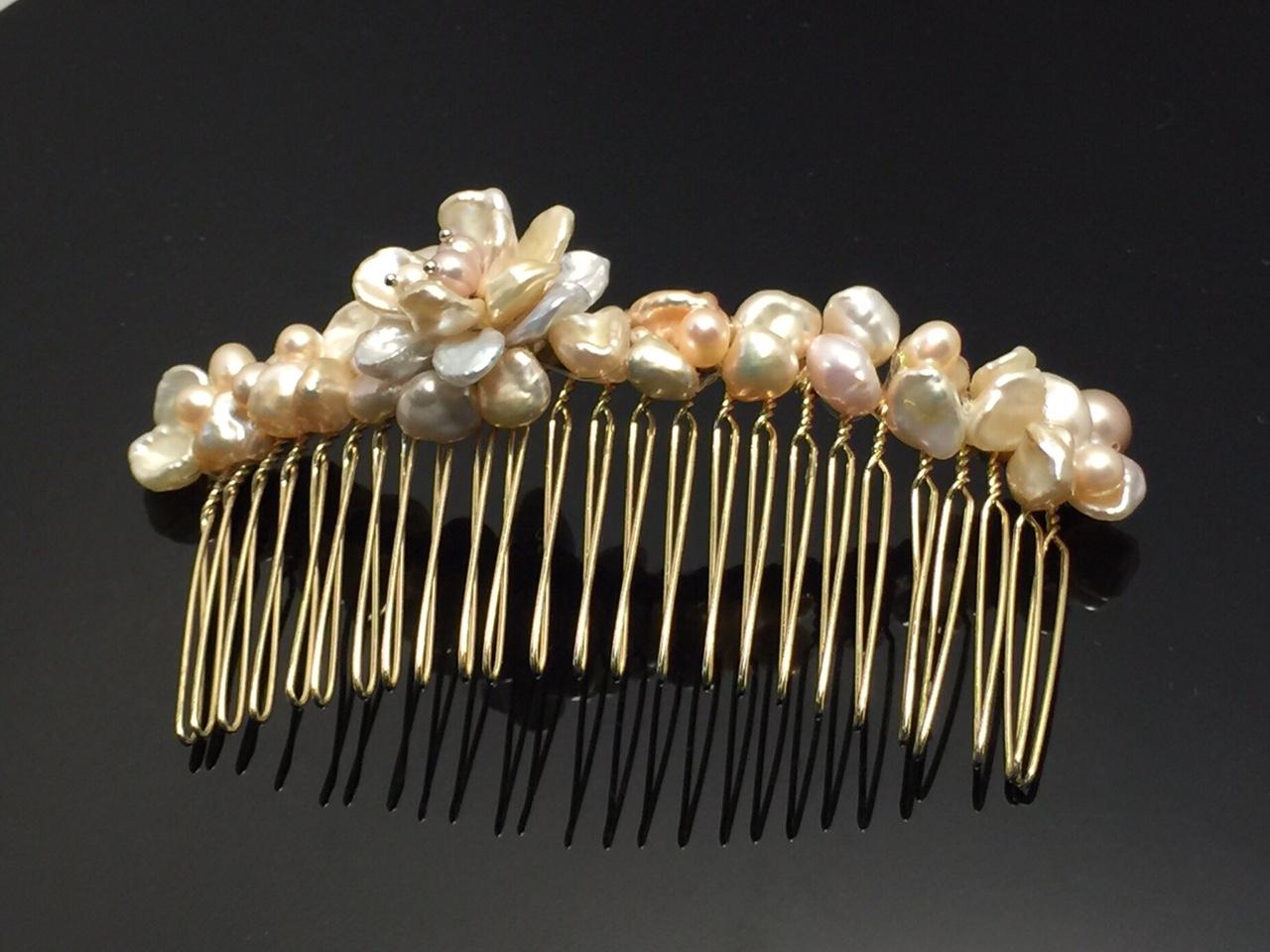 天然淡水珍珠花珍珠髮飾髮插保證天然珍珠