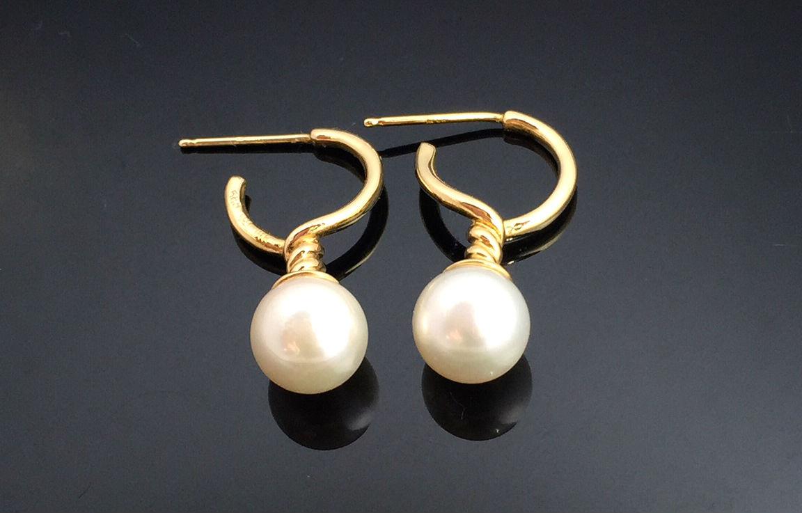 天然珍珠耳環 典雅高貴設計師款14K金耳環 玫瑰金耳環,附鑑定書(保證天然珍珠)