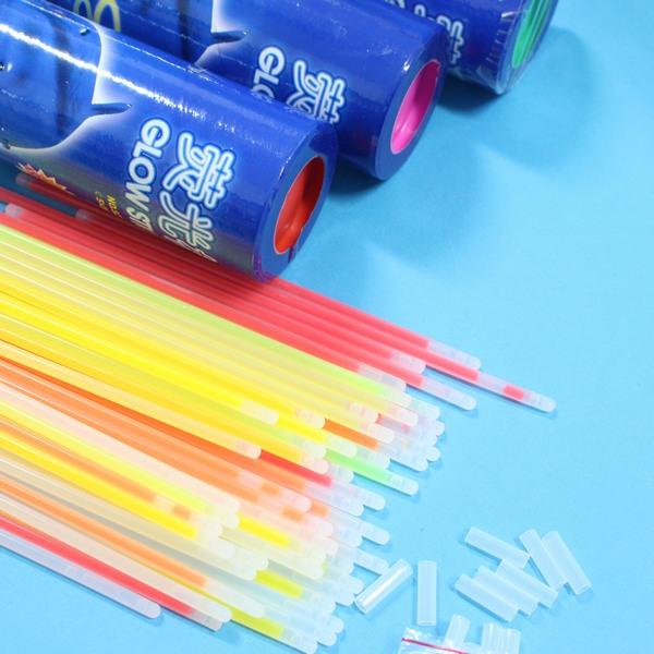 100支入細桿筒裝螢光棒 晚會發光棒 螢光手環 長20cm/一筒100支入{定299}
