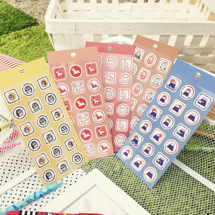 PGS7 日本卡通系列貼紙 - 日本 和風 印章 貼紙 富士山 不倒翁 日系 裝飾貼 手帳本
