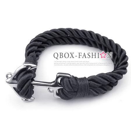 《 QBOX 》FASHION 飾品【W10024844】精緻個性船錨粗棉繩316L鈦鋼手鍊/手環(黑)