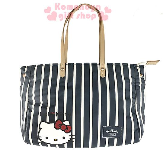 〔小禮堂〕Hello Kitty x Hallmark 2way手提包《小.黑條紋.大臉.附可拆式背帶》