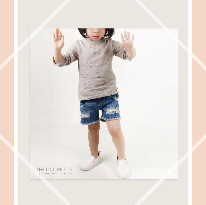 THE DOT PETITE時尚童裝-灰色噴漆造型棉T