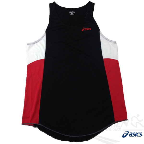 ASICS 亞瑟士 慢跑田徑背心 (黑*紅) 吸汗速乾 防紫外線 夜跑 路跑