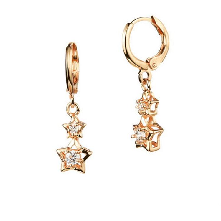 最新款時尚精美星星鑲鑽造型銅鍍18K金耳環耳飾