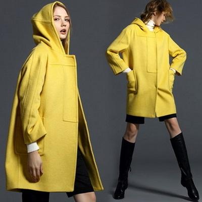 毛呢外套 連帽大衣-直筒簡約羊毛中長款女風衣3色72at24【獨家進口】【米蘭精品】