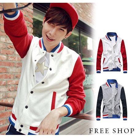 Free Shop【QTJJK06】日韓多色彩條拼接螺紋刷毛保暖防風運動外套立領棒球外套‧.二色