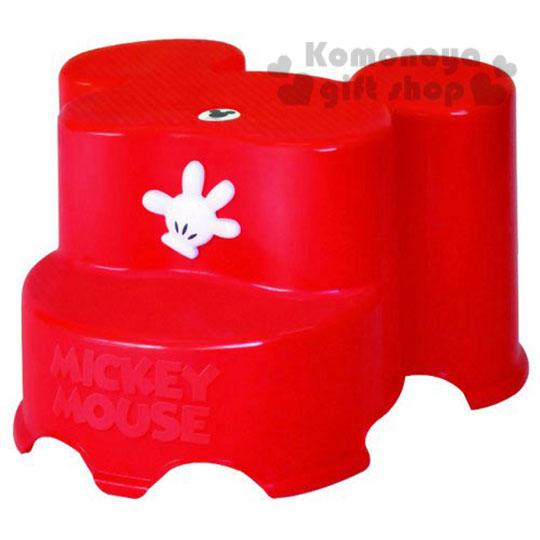〔小禮堂〕迪士尼 米奇 日製造型階梯踩腳椅《紅.手掌》衛浴專用