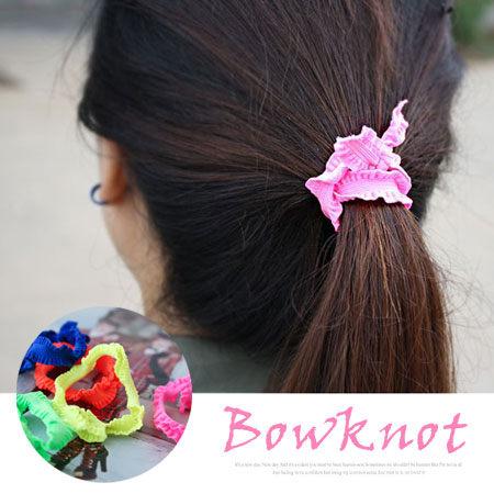 韓版螢光色系 蝴蝶結髮圈髮繩 幸運結髮飾 可當手鍊手繩【N100012】