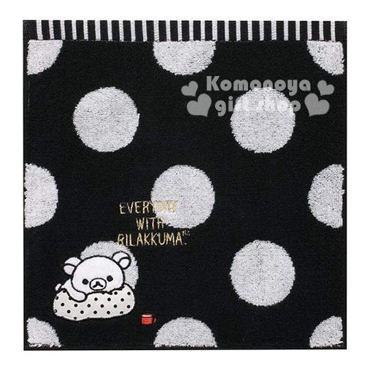 〔小禮堂〕懶懶熊 小方巾《黑底.白點點.趴姿.枕頭.25x25cm》純棉舒適.黑白設計系列