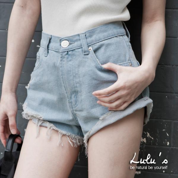 LULUS-預購-P褲管抽鬚牛仔短褲25-29-4色  預【04020322】