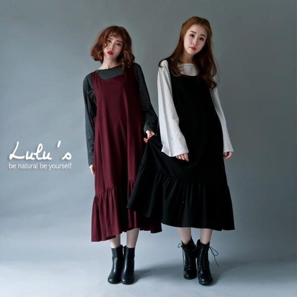LULUS-B韓製-細褶下擺無袖洋裝-2色  現+預【02020939】