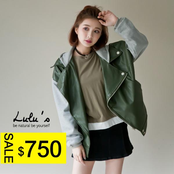 LULUS-A連帽拼接皮革棒球外套-2色  現+預【03010048】