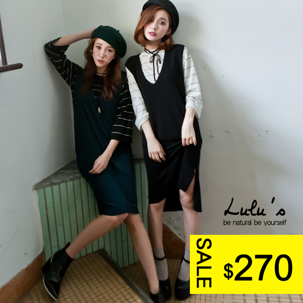 LULUS-F韓製-V領側開叉無袖洋裝-2色  現+預【02020944】