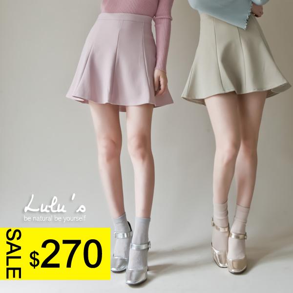 LULUS-P傘擺拉鍊短裙-內襯褲S-M-4色  現+預【04070142】