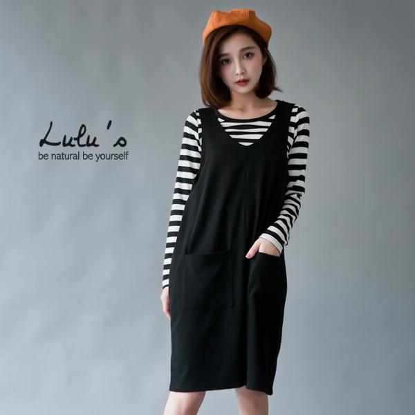 LULUS-T兩件式-橫紋上衣+棉質吊帶裙-黑  現+預【01120600】
