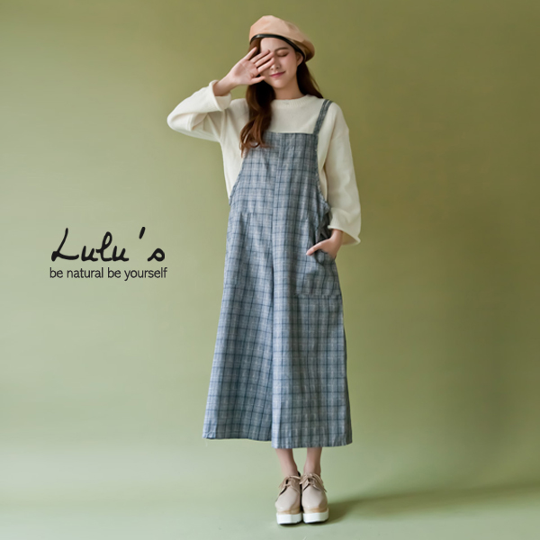 LULUS-L韓製-格紋口袋雙細肩連身寬褲-白  現+預【04090599】