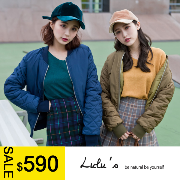 LULUS-C袖菱格紋鋪棉飛行外套-3色  現+預【03070281】