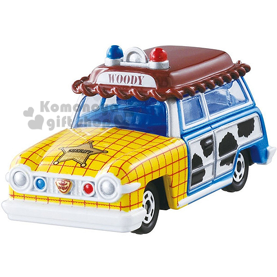 〔小禮堂〕迪士尼 玩具總動員 TOMICA小汽車《棕藍黃.胡迪》經典造型值得收藏