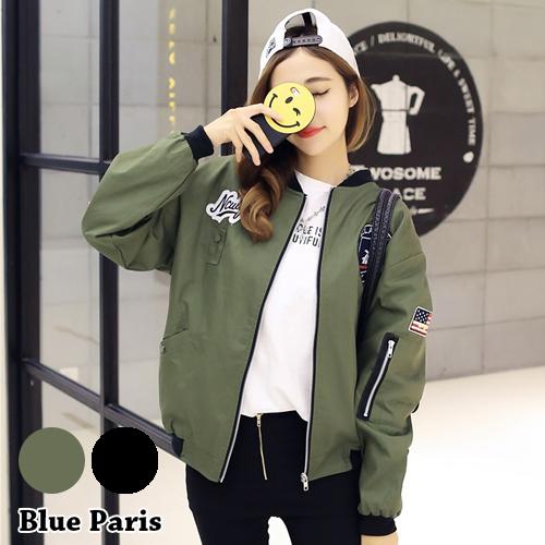 外套 - 街頭風貼布徽章手臂拉鍊飛行外套【29208】藍色巴黎《2色》現貨 + 預購