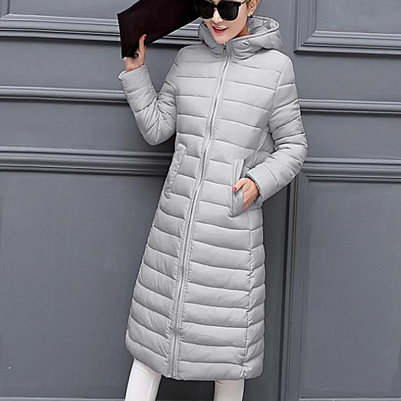 [全店滿700結帳現折$100] SaSa 韓版修身時尚輕羽絨長款外套