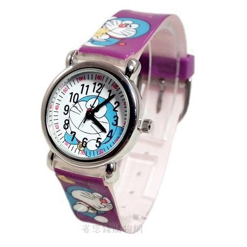 《省您錢購物網》全新~限量doraemon 多啦a夢小叮噹卡通 塑膠錶(紫色)