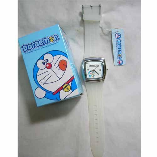 《省您錢購物網》全新~ doraemon 多啦A夢小叮噹 仿牛仔皮塑膠錶 正方形(白色)