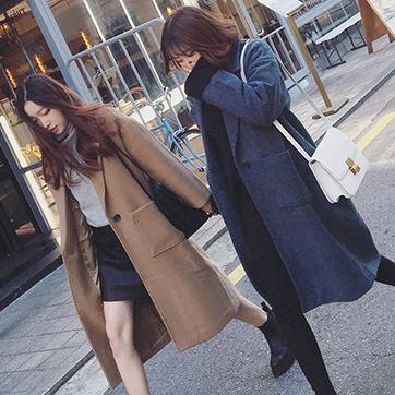 PS Mall 韓版西裝領寬鬆毛呢大衣外套【T2974】