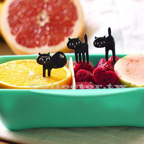 【N6070401】可愛黑貓喵星人造型水果叉 蛋糕叉 小貓咪安全叉 (6入裝)