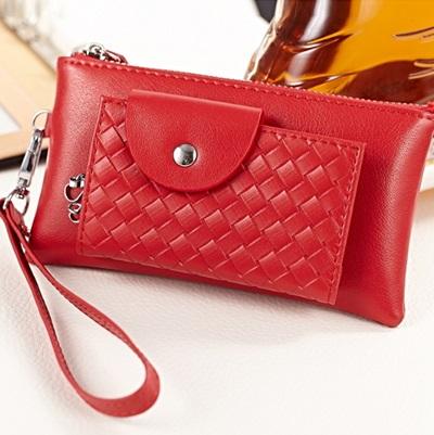 手拿包 真皮零錢包-多功能小巧時尚編織紋女包包2色73ec32【義大利進口】【米蘭精品】