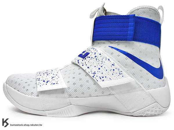 2016 NBA 小皇帝 JAMES 子系列代言鞋款 輕量化 NIKE ZOOM LEBRON SOLDIER X 10 EP 白藍 寶藍 潑漆 騎士隊 HYPERFUSE + 活動黏扣帶 無鞋帶設計 ZOOM AIR 氣墊 耐磨橡膠底 (844375-164) 1116