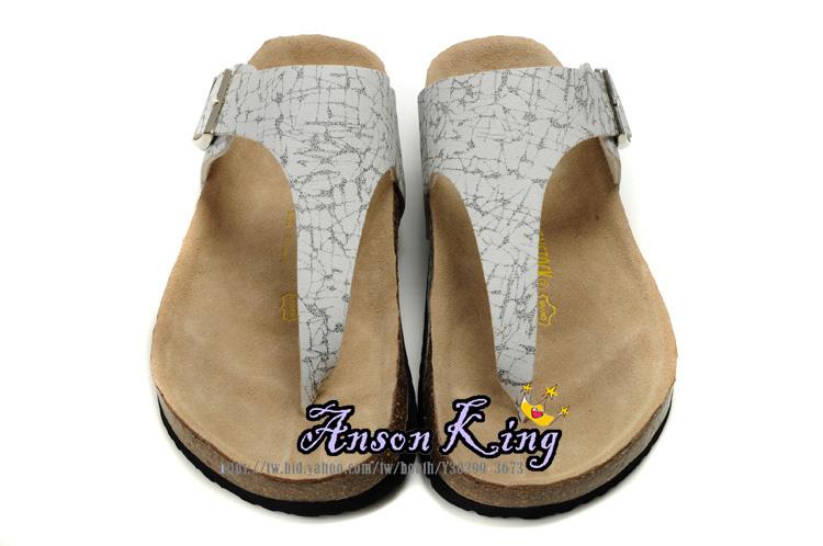 [Anson King]Outlet正品代購  birkenstock 男女款 丁字夾腳 海灘 懶人涼拖鞋 白色黑紋