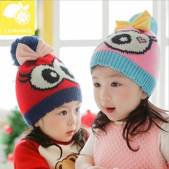 WallFree窩自在★冬季水汪汪大眼睛蝴蝶結毛球保暖兒童冬帽毛線帽