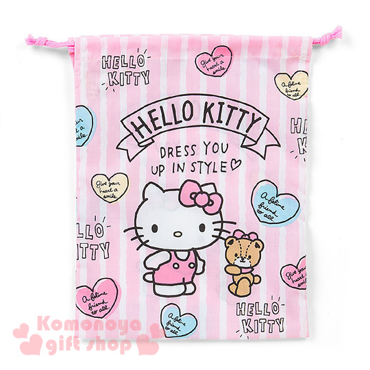 〔小禮堂〕Hello Kitty 日製棉質束口袋《M.粉條紋.小熊.愛心.LOGO》