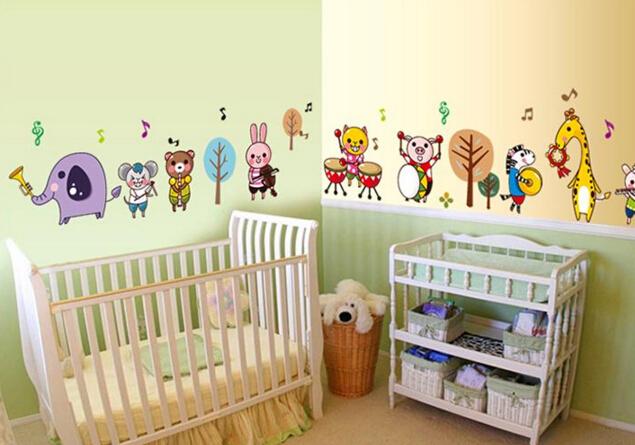 動物樂隊幼兒園環境佈置兒童房臥室床頭寶寶房間裝飾防水牆貼畫貼紙預購【no-521374456706】