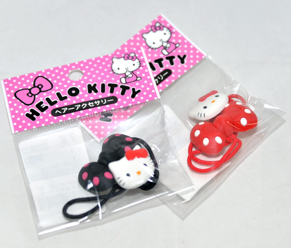 日本製 正版 Hello Kitty 髮圈 髮束 一個是kitty 一個是蝴蝶結