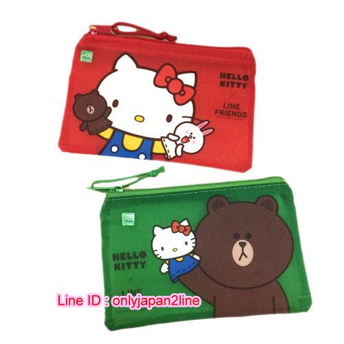【真愛日本】16111100013磨砂網格袋(小)-KT&LINE2款    KITTY 凱蒂貓 三麗鷗  收納袋 生活雜貨