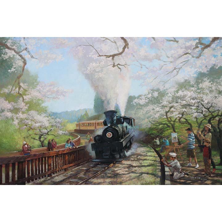 【P2 拼圖】賴英澤油畫系列-阿里山鐵道-星光大道1000片 01-022