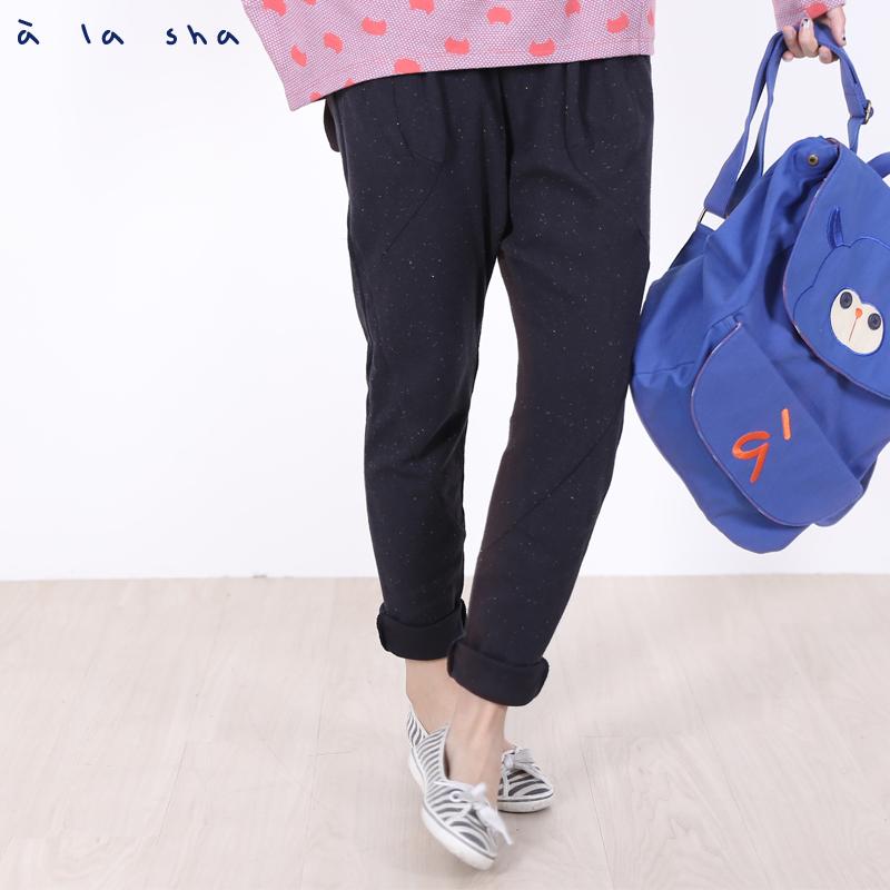 a la sha Qummi 特殊口袋設計剪接褲