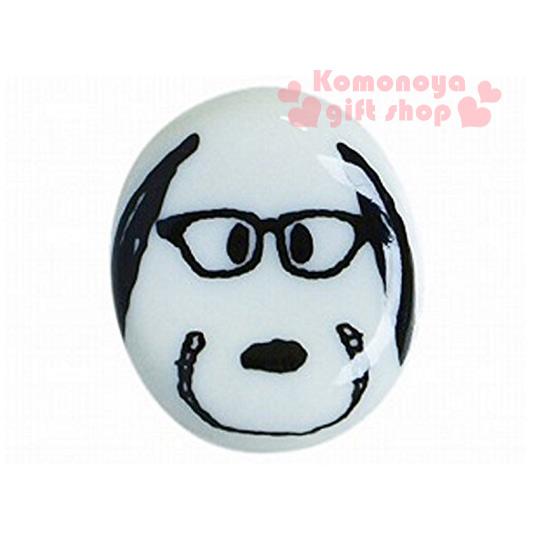 〔小禮堂〕史努比 日製陶瓷造型筷架《迷你.白.大臉.微笑.戴眼鏡》可愛實用.增添用餐樂趣