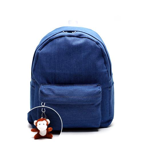 後背包 韓國AFRICA RIKIKO 丹寧牛仔布素面後背包 書包 NO.125 중청(Denim blue) - 包包阿者西