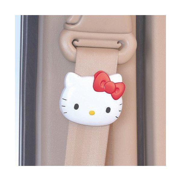 【真愛日本】8091900011 車用安全帶夾-頭型紅結 三麗鷗 Hello Kitty 凱蒂貓 安全帶夾 汽車用品