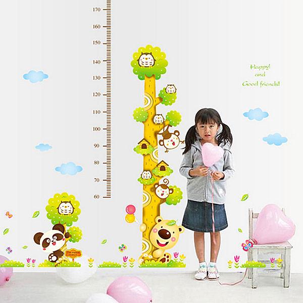 BO雜貨【YV4180】創意可移動壁貼 DIY牆貼 身高尺壁貼 兒童壁貼 兒童房設計 樹袋熊