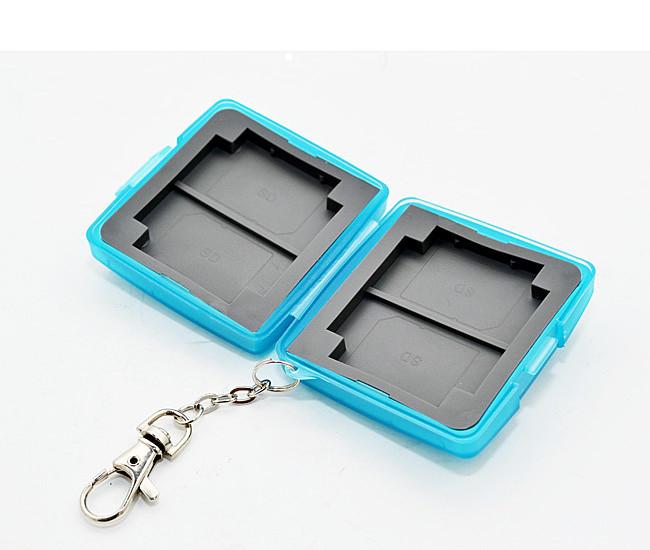 又敗家@淺藍uWinka SD.CF記憶卡儲存盒附鑰匙鏈 記憶卡收納盒記憶卡保存盒記憶卡保護盒SDHC SD卡盒CF記憶卡盒儲卡盒防潑水