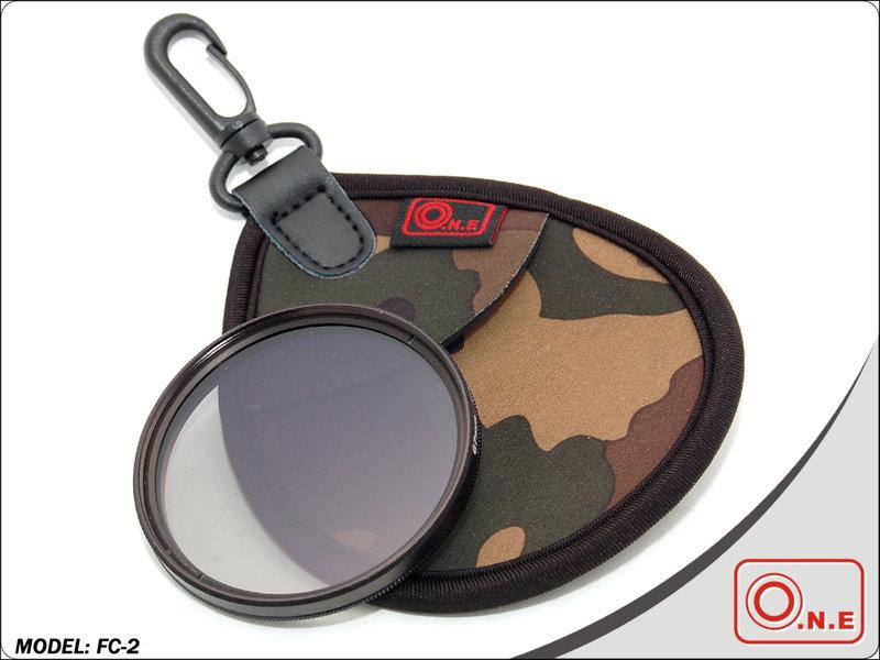 又敗家@O.N.E叢林迷彩UV濾鏡包(2片裝,適CPL偏光鏡紅外線IR濾鏡可調ND濾鏡LENS FILTER)CP多地形迷彩UV濾鏡袋UV保護鏡袋UV保護鏡包