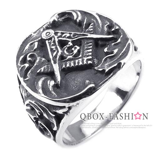 《 QBOX 》FASHION 飾品【W10025234】精緻個性共濟會光明會鑄造316L鈦鋼戒指/戒環